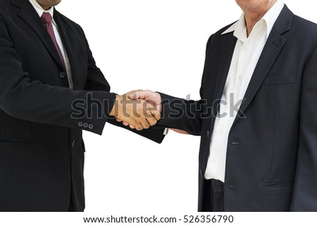 scene of hand shaking of businessman on isolate - can use to display or montage on product