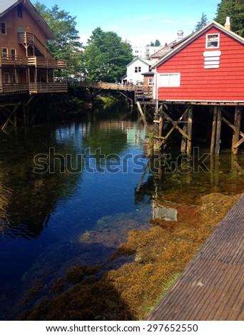 Scene of historical Creek Street, Ketchikan Alaska. - stock photo