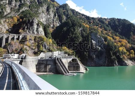 scene of Kurobe dam at Japan Alp - stock photo