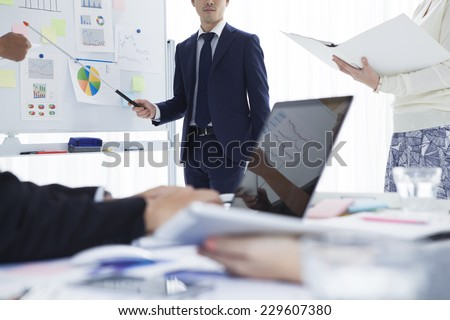 Scene of modern conference - stock photo
