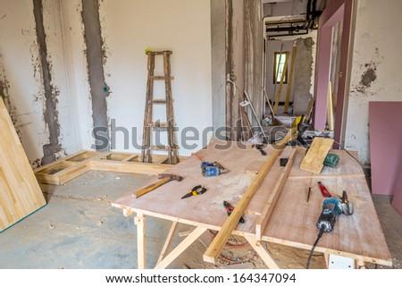 scene of renovation - stock photo