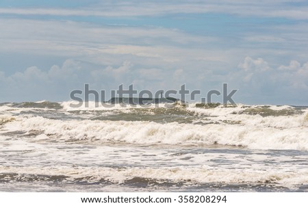scene of sea wave and sea stack on the windy day.  -vintage. - stock photo
