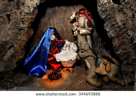 Scene of the birth the Christ Child.Merry Christmas!New Years! - stock photo