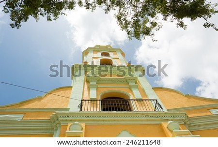 Scene of the colonial village Trinidad in Cuba, the town was the eighth founded by Spanish colonizers and nowadays is a UNESCO world heritage site plus a tourist landmark - stock photo