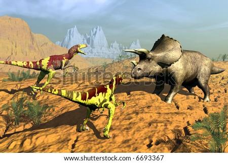 scene of the hunt dinosaur - stock photo