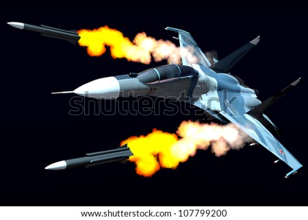 Scene of the russian combat plane - stock photo