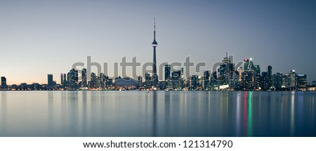 Scene of Toronto skyline from Central Island - stock photo