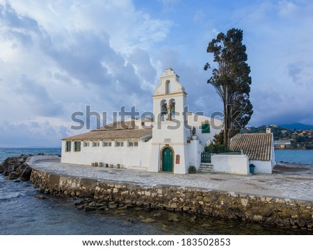 scene of Vlacherna monastery, Kanoni, Corfu, Greece