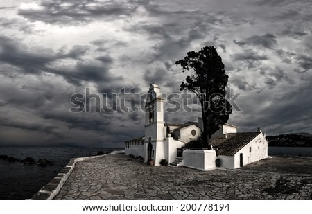scene of Vlacherna monastery, Kanoni, Corfu, Greece - stock photo