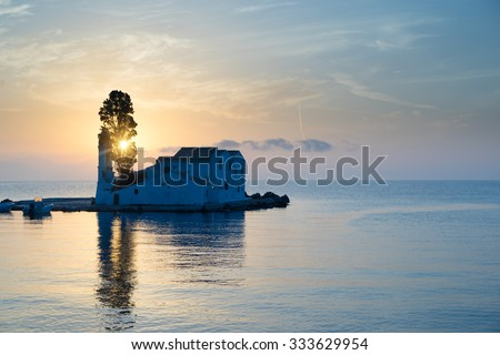 scene of Vlacherna monastery, Kanoni, Corfu, Greece - stock photo