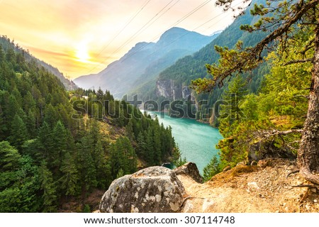 scene over Gorge dam when sunrise in the early morning in North Cascade national park,Wa,Usa - stock photo