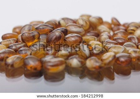 scene shows the heart of amber surrounded by large quantities as precious stones