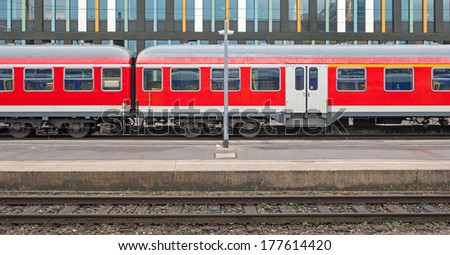 Scene with old train carriages at the main station of Munich in Bavaria. - stock photo