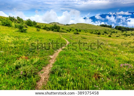 scene with pathway in mountains - stock photo