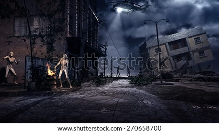 Scene with ruined city, helicopter and zombies - stock photo