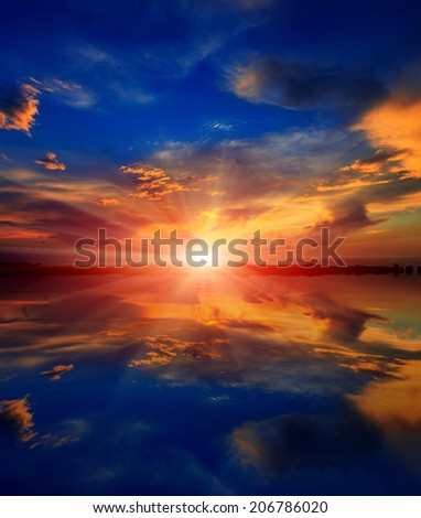 scene with sunset over water surface