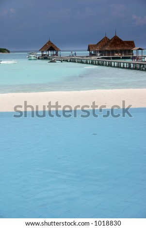 sceneries from the maldivian islands, pool and sea