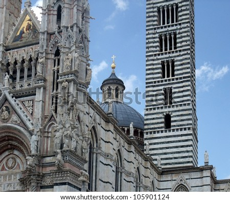 scenery around Siena Cathedral in Siena, Italy - stock photo