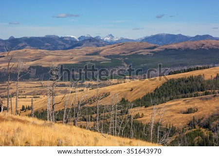 Scenery at the end of the Chittenden Road in Yellowstone National Park with the Absaroka Mountains in the background. - stock photo
