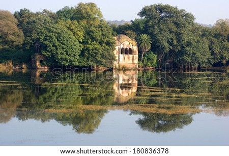 Scenery at the Ranthambore National Park in Rajasthan, India - stock photo