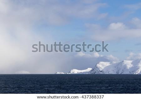 Scenery from a ship Norwegian sea near North Cape  Norway Clouds storm