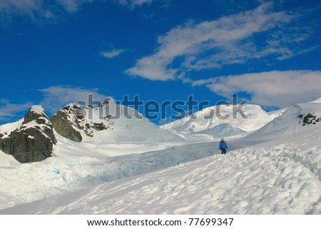 Scenery in Antarctica, snow, blue sky and lone walker - stock photo