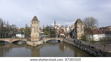 scenery in Strasbourg with rhine and bridge (Alsace/France) - stock photo