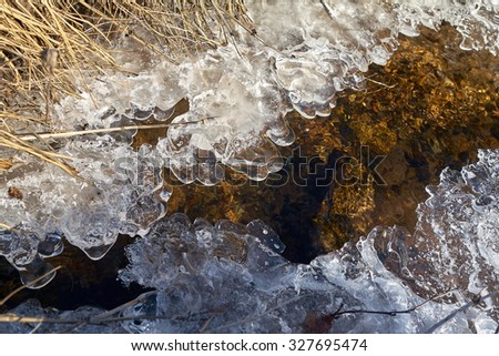 Scenery of a frozen creek, Czech Republic, Europe - stock photo