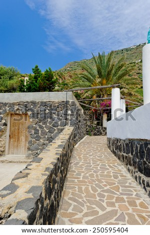 Scenery of Alicudi island, Aeolian Islands, Sicily, Italy. - stock photo