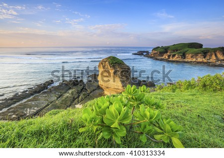 Scenery of Batu Payung and Island from top of a hill at Batu Payung Beach, Lombok, Indonesia. - stock photo