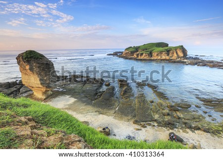 Scenery of Batu Payung and Island from top of a hill at Batu Payung Beach, Lombok, Indonesia.