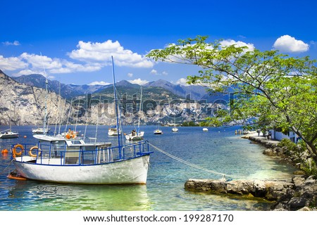 scenery of beautiful Italy series - lago di Garda - stock photo
