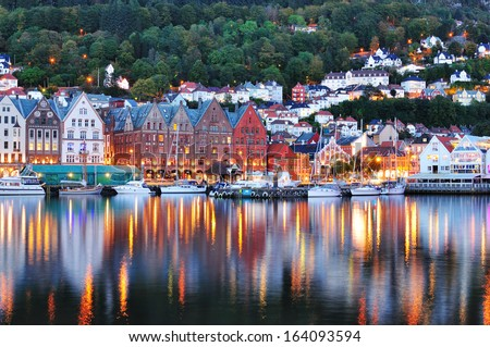 Scenery of Bryggen in Bergen. UNESCO World Heritage Site, Bryggen (Bergen) Norway. - stock photo