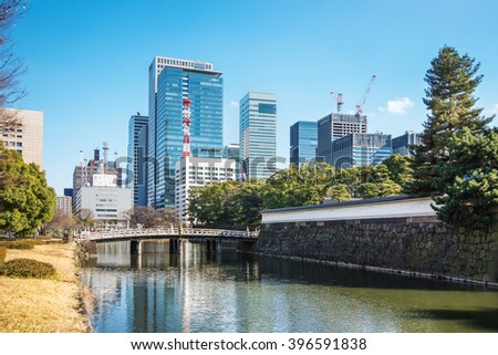 Scenery of Edo castle and business district in Tokyo