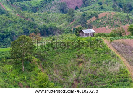 scenery of farmer cottage on the hill