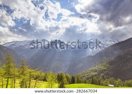 Scenery of high mountain Alps