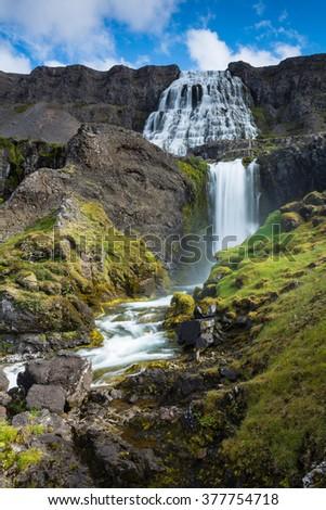 Scenery of mountains with Dynjandi, (Fjallfoss), waterfall, Iceland - stock photo