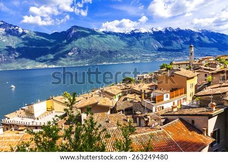 scenery of northen Itlay - Limone,  Lago di garda - stock photo