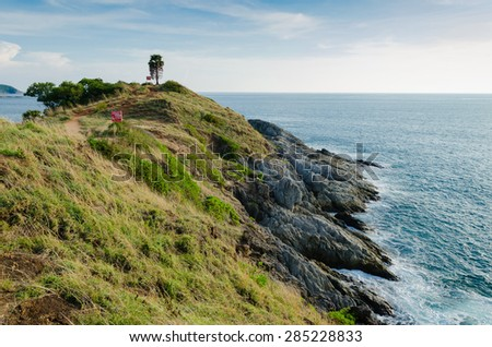 Scenery of Phromthep Cape. The Attractive Landmark of Phuket Southern Province of Thailand.