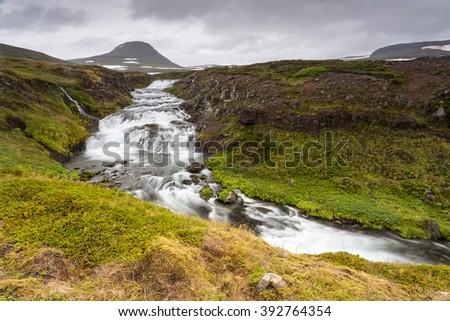 Scenery of river, Westfjords, Iceland - stock photo
