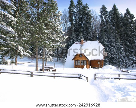 Scenery of small wood chalet over snow - stock photo