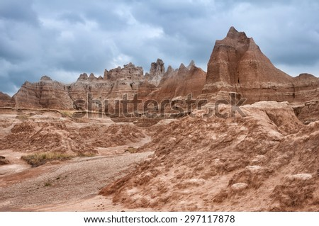 Scenery of the Badlands National Park in South Dakota. - stock photo