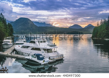 Scenery of the nightfall in Alaska - stock photo