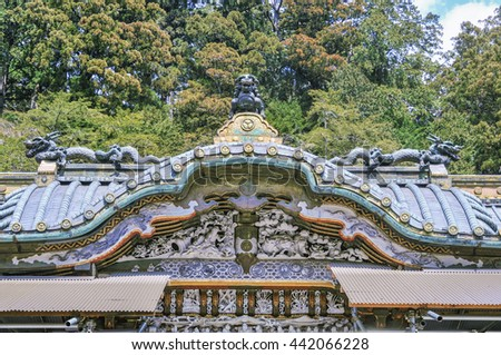 Scenery of the Nikko Toshogu shrine, Japan - 10 August 2010: It is a Shinto shrine located in Nikko, Tochigi Prefecture, Japan, It is National Treasures of Japan and UNESCO World Heritage Site.