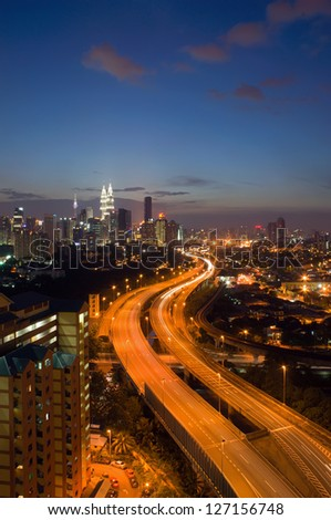 Scenery of twilight and busy elevated highway in Kuala Lumpur, Malaysia - stock photo