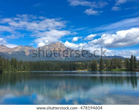 Scenery reflection in Jasper, Alberta, Canada