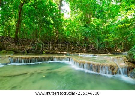 Scenery view of Erawan waterfall, Erawan National Park, Thailand - stock photo