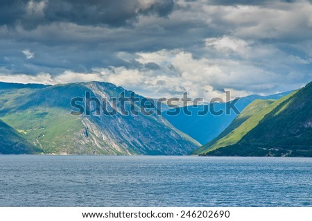 Scenery view to fjord in Norway - stock photo