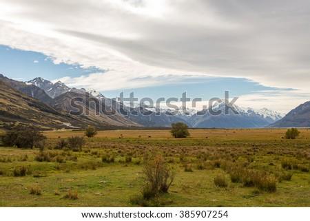 Scenery with Mount Cook, Aoraki, Mount Cook Mackenzie Region, New Zealand - stock photo