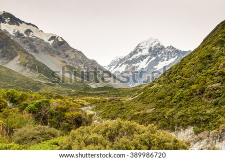 Scenery with Mount Cook, view from Hooker valley, Aoraki, Mount Cook Mackenzie Region, South Island, New Zealand - stock photo